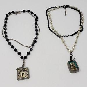Jewel Kade Lot 2 Pendant Necklace Wisdom Owl Crown
